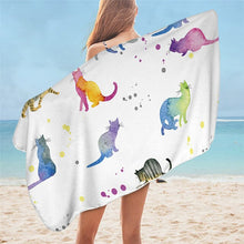 Load image into Gallery viewer, Cute Cartoon Cat Microfiber Towels