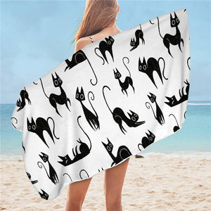 Cute Cartoon Cat Microfiber Towels