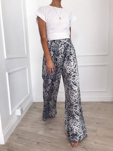 Vintage Wide Leg Leopard Print Pants/Trousers