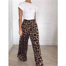 Load image into Gallery viewer, Vintage Wide Leg Leopard Print Pants/Trousers
