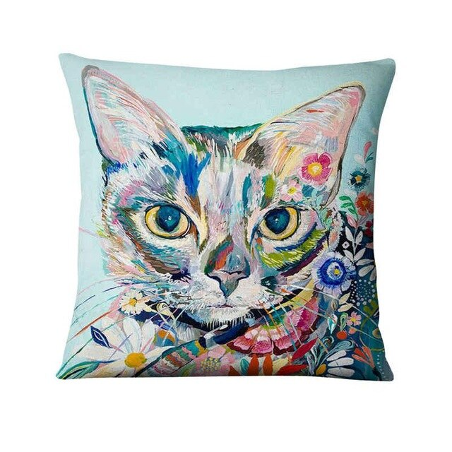 Wonderful Colourful Cat Cushion Case.