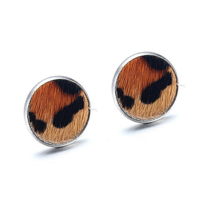 Leopard Print Horse Hair Round Stud Earrings