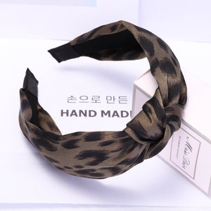 Vintage Leopard Hairbands with Wide Side Cross Knot