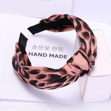 Load image into Gallery viewer, Vintage Leopard Hairbands with Wide Side Cross Knot