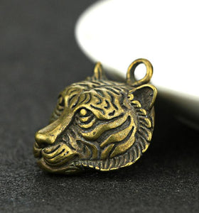 Chinese Brass Carved Tiger Head