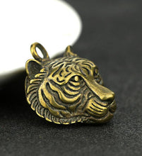Load image into Gallery viewer, Chinese Brass Carved Tiger Head