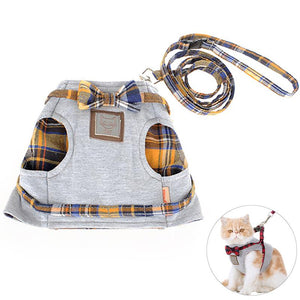 Adjustable Cat Cotton Harness with lead