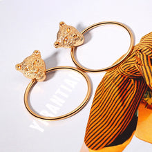 Load image into Gallery viewer, Gold Color  Leopard Head Hoop Earrings