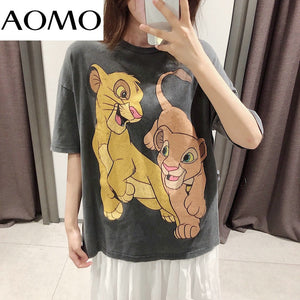 Lion King Animal Print Grey Cotton T-Shirt.