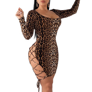Summer Backless Leopard Print Long Sleeve Dress