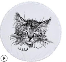 Load image into Gallery viewer, Cat Art Microfiber Beach/Bath Towels with Tassels