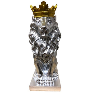 Gold Crowned Lion Abstract Statue