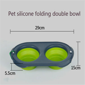 Collapsible Cat Double Feeding Bowl
