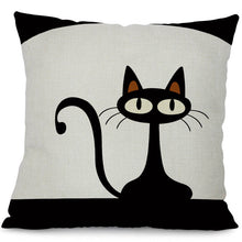 Load image into Gallery viewer, Black Climbing Cat Cushion Covers