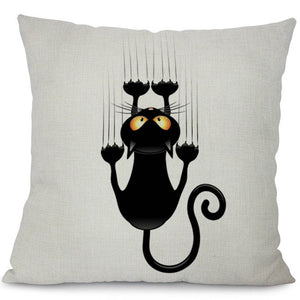 Black Climbing Cat Cushion Covers