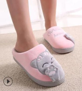 Cute Cat Welcome Home Plush Slippers