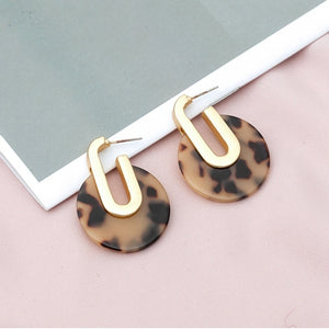 Leopard Print Acrylic Drop Earrings