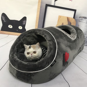 Cat Beds House Funny Pet Cats Tunnel 2 Holes Play Tubes Soft Warm Small Dog Bed Coral Fleece Comfortable Pet Puppy Nest