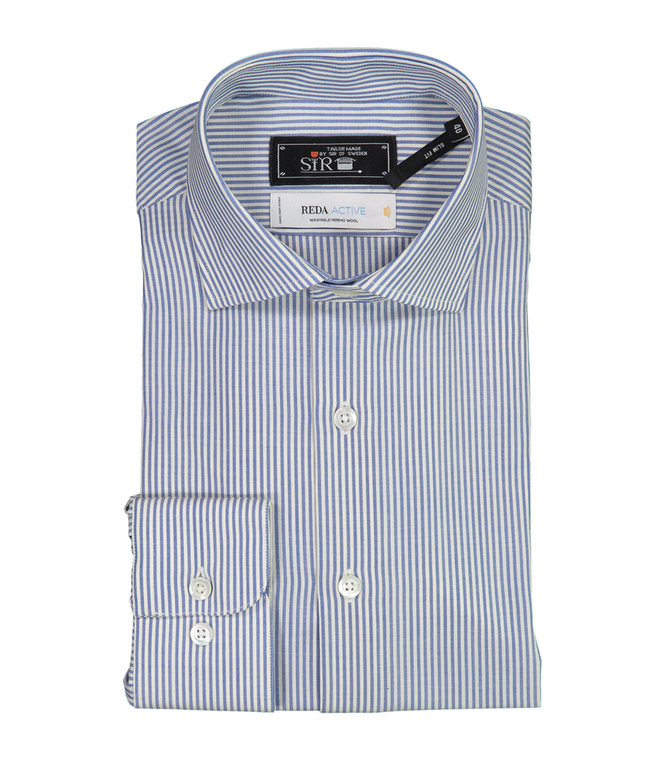Gordon Light Blue Striped Merino Shirt