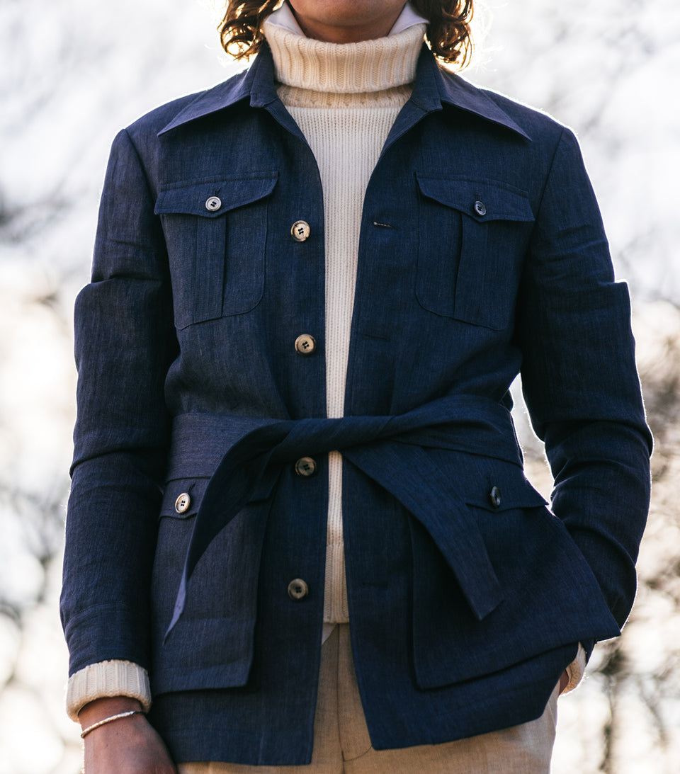 Stanley Blue Linen Safari Jacket