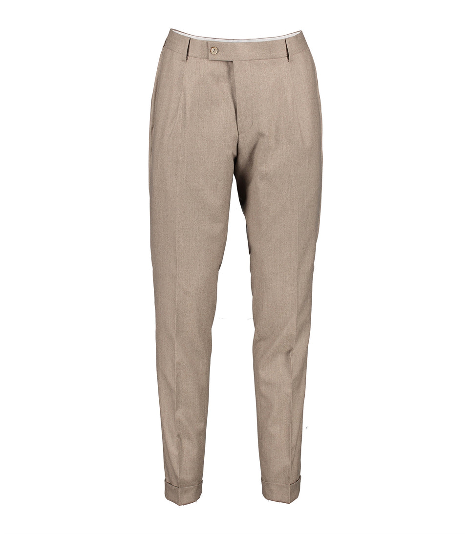 Alex Beige Flannel Trousers