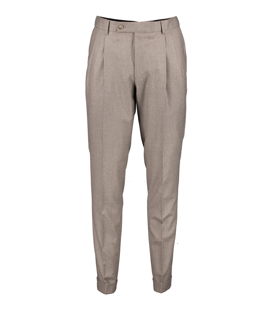 Brett Beige Flannel Trousers