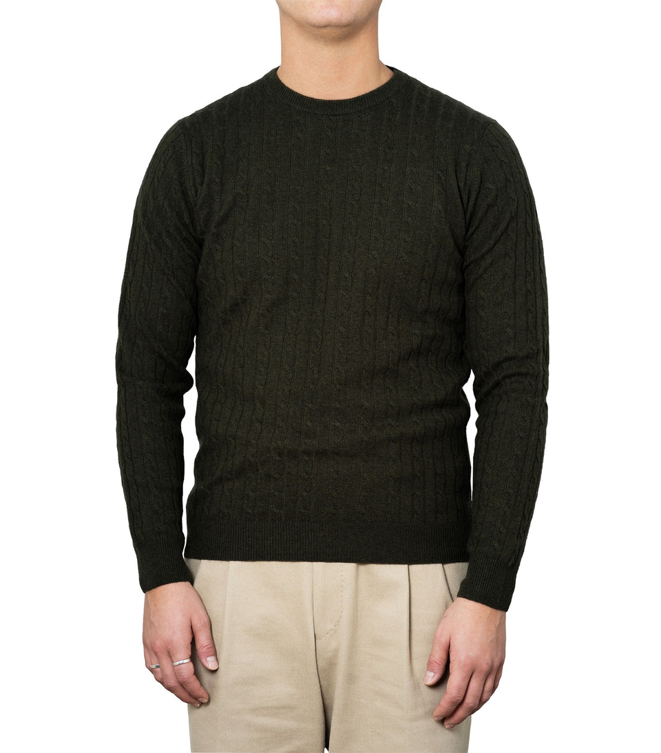 Enar Green Cable Knit Sweater