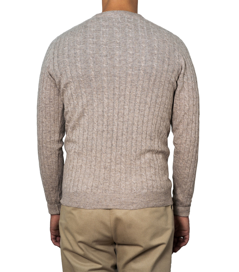 Enar Beige Cable Knit Sweater
