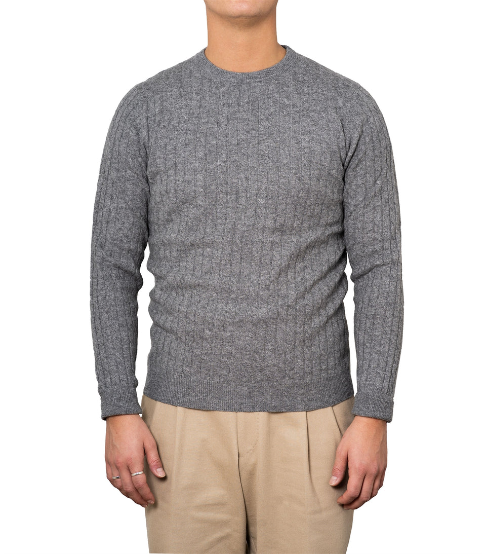 Enar Light Grey Cable Knit Sweater