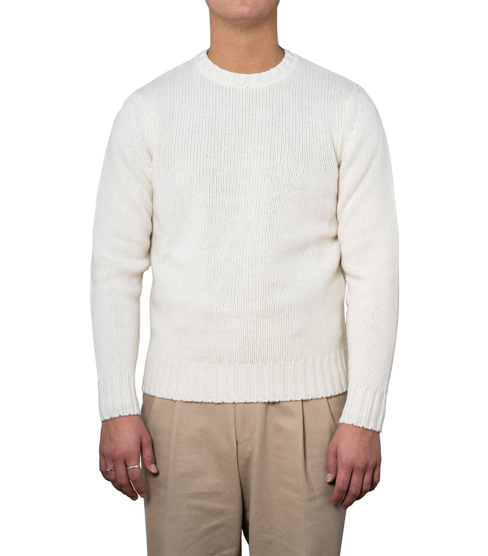 Harald White Heavy Knit Crewneck