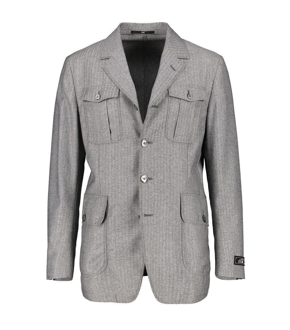 Jiggy Grey Herringbone Jacket
