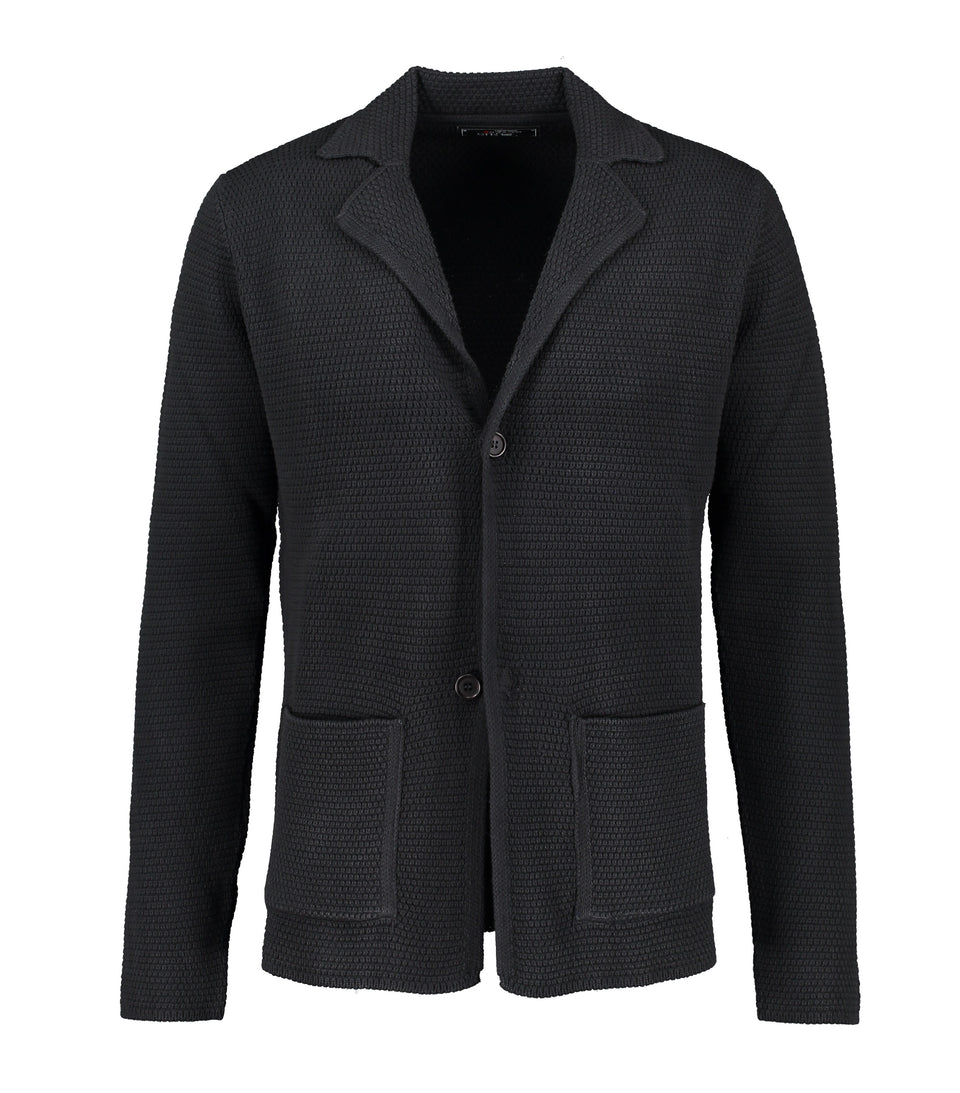 Matera Navy Knitted Jersey Jacket