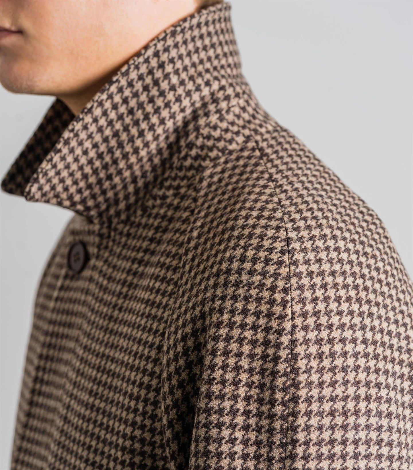 Neo Brown Houndstooth Coat