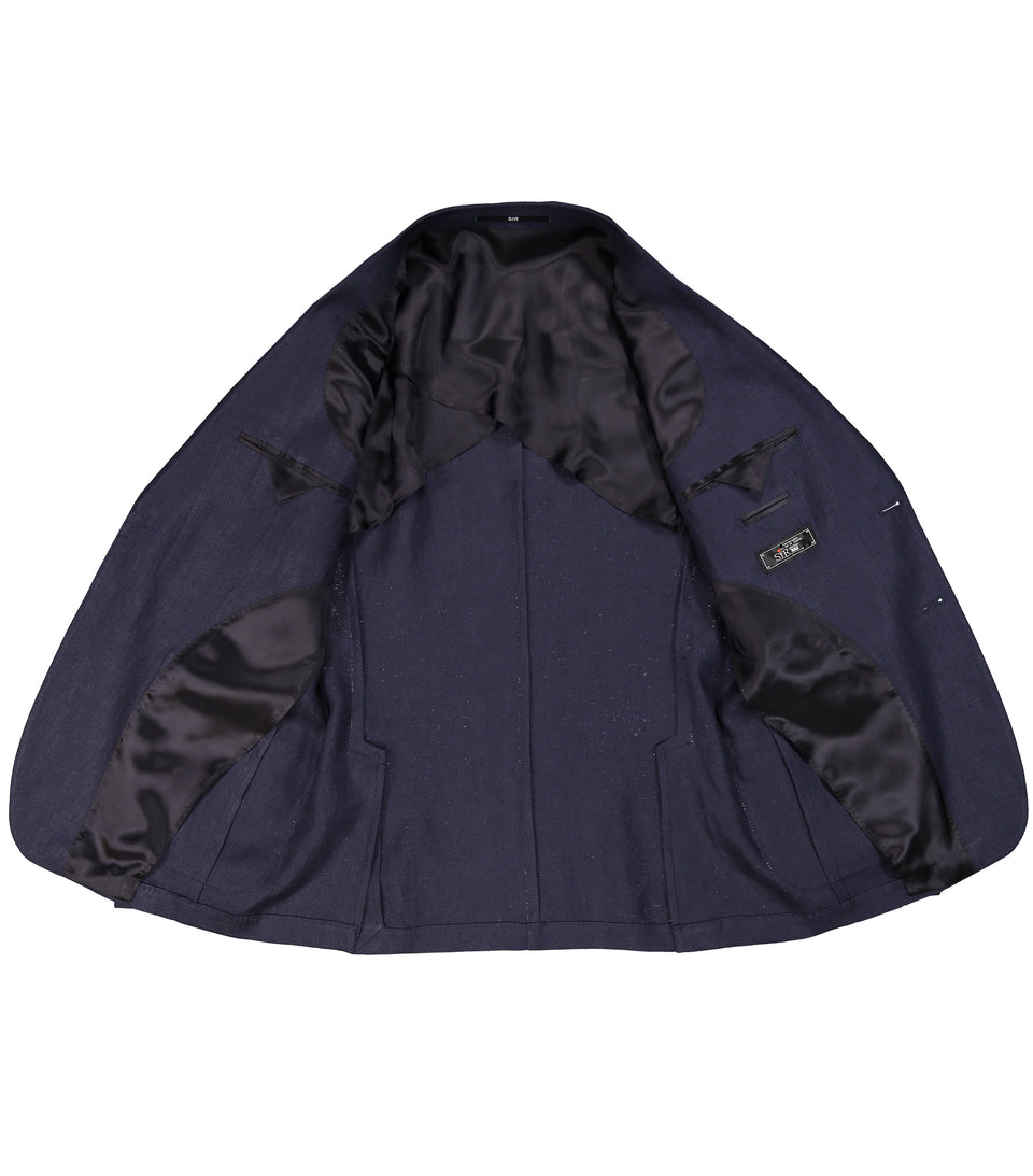 Ness Navy Linen Jacket