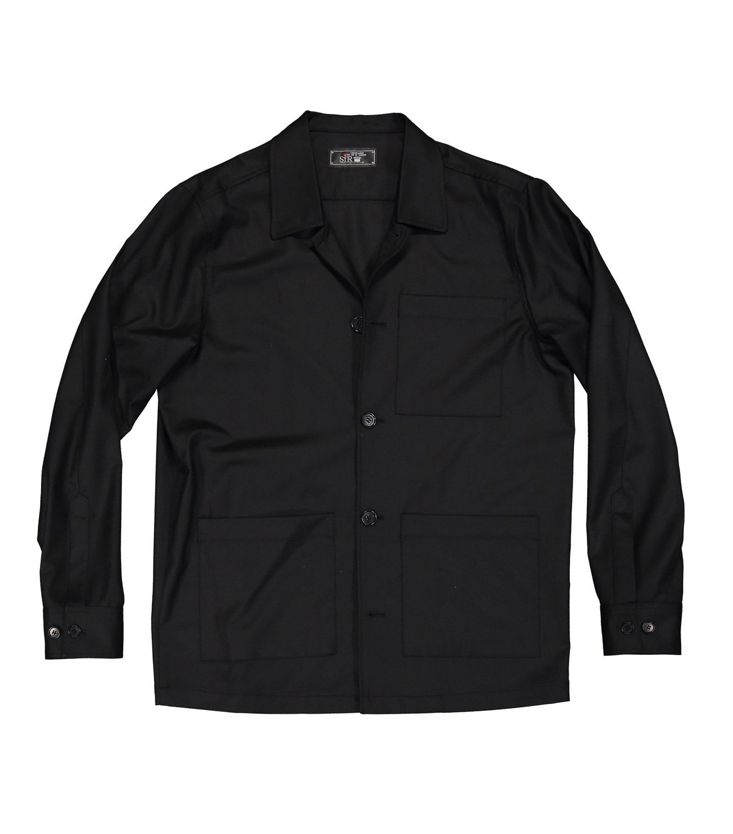 Overtown Black Flannel Shirt Jacket