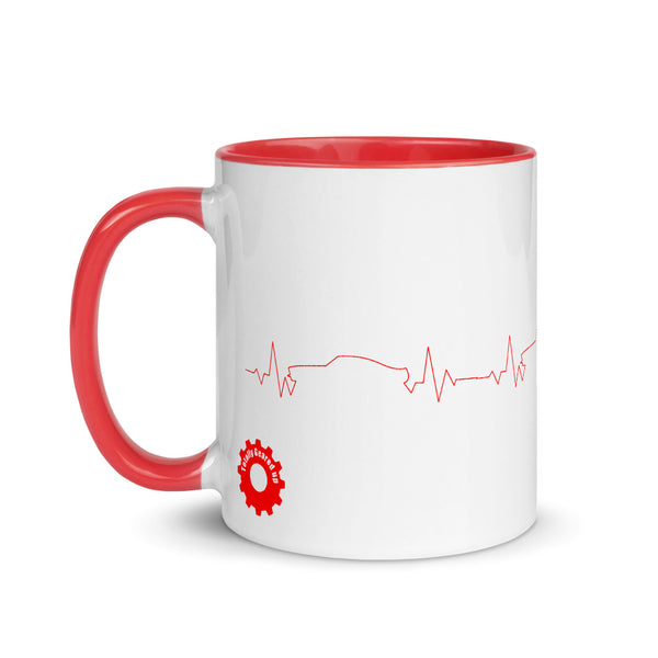 Red Muscle Car Heartbeat Mug - left/right handed