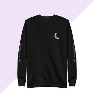 Crescent moon ivy black crew sweatshirt with ivy printed on sleeves
