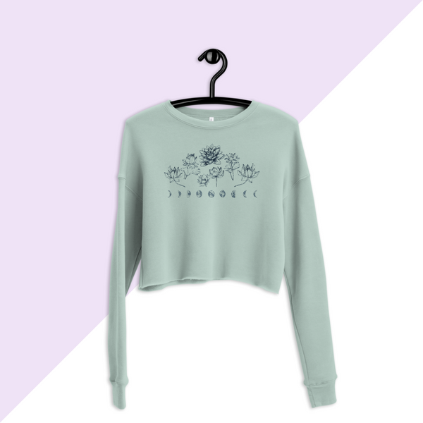 Dusty Blue Lotus Flower Moon Phase Cropped Crew Sweatshirt