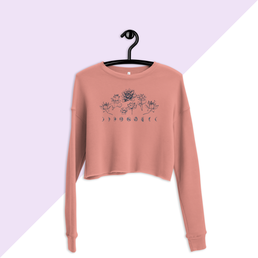 Mauve Lotus Flower Moon Phase Cropped Crew Sweatshirt