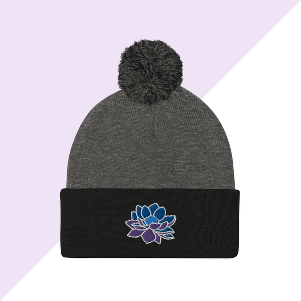 Embroidered Black and Gray Lotus Flower Winter Hat or Beanie