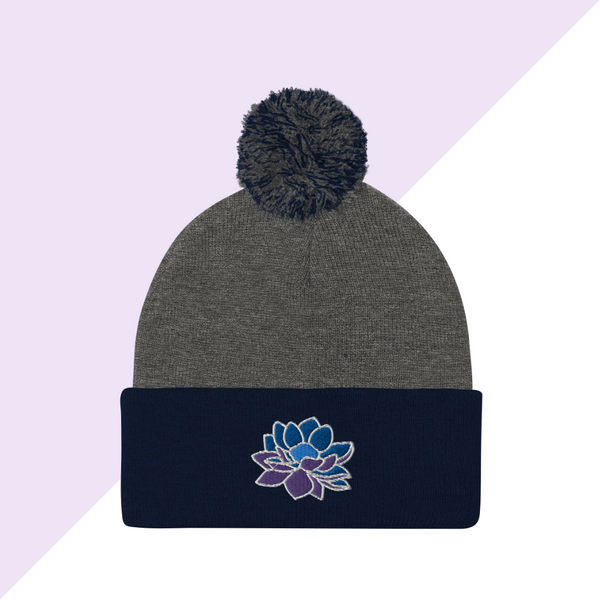 Embroidered Navy and Gray Lotus Flower Winter Hat or Beanie