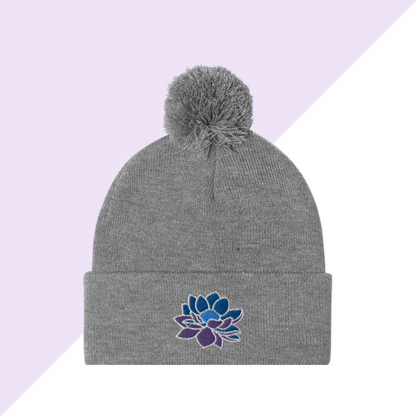 Embroidered Gray Lotus Flower Winter Hat or Beanie