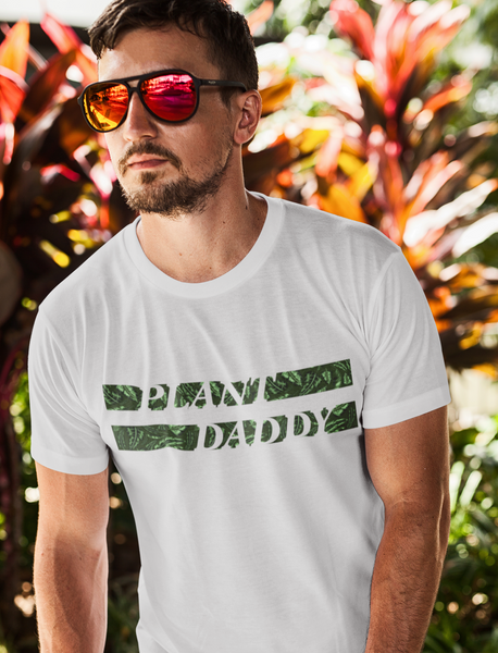 Man Wearing Plant Daddy T-shirt stripe