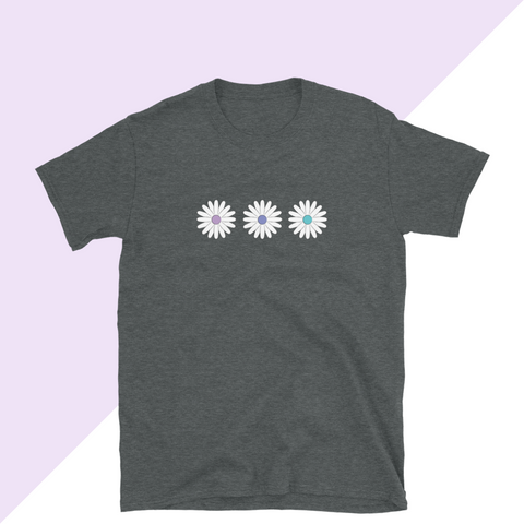 Pastel Daisy Women's T-shirt in Dark Heather