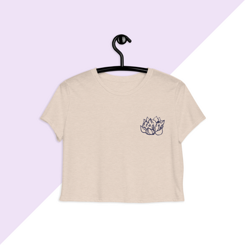 Heather Embroidered Planted Lotus Flower Crop Top T-shirt