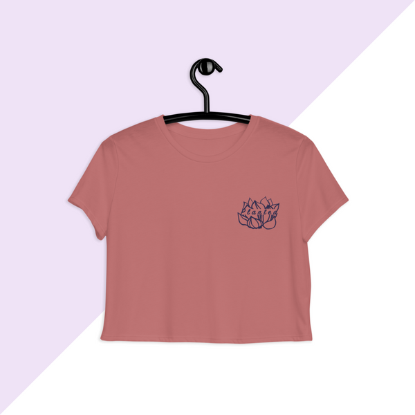 Mauve Embroidered Planted Lotus Flower Crop Top T-shirt