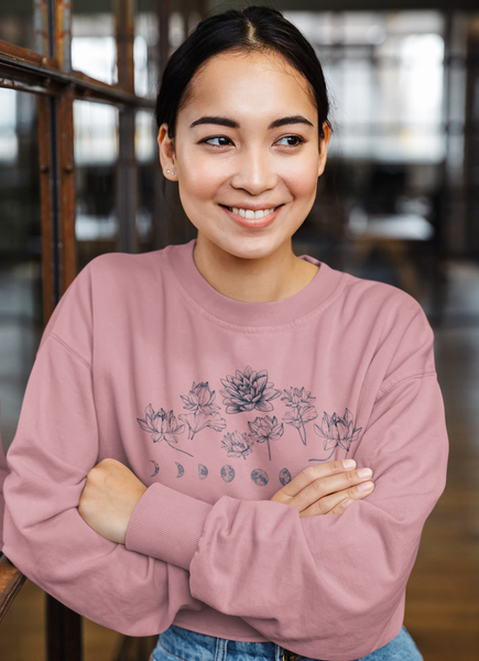 Woman Wearing Mauve Lotus Flower Moon Phase Cropped Crew Sweatshirt
