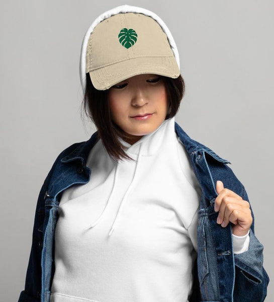 Woman Wearing Monstera Leaf Dad Hat Plant Baseball Cap