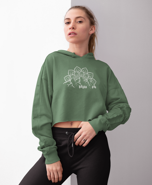 Woman Posing in Military Green Mountain, Mandala, and Evergreen Tree Hoodie Sweatshirt
