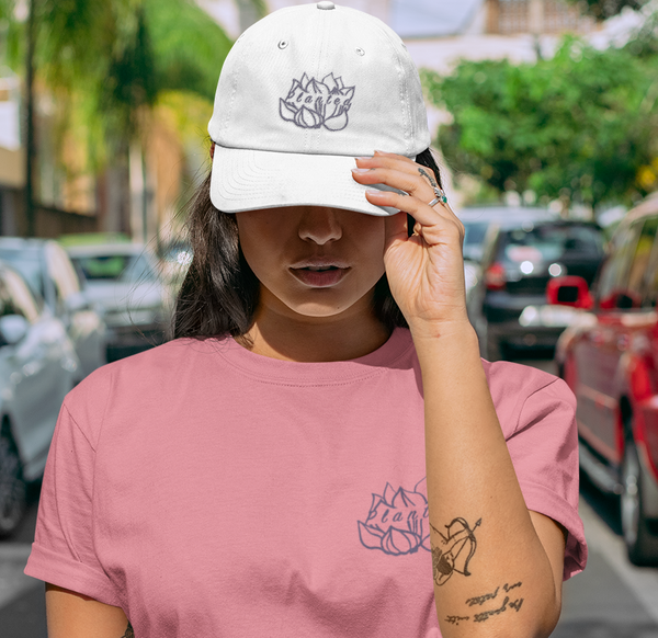 Woman Wearing Mauve Embroidered Planted Lotus Flower Crop Top T-shirt and Hat